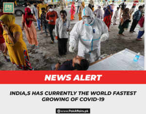 India,s has currently the world fastest growing of Covid-19